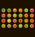 big set gaming icons on golden coins for slots vector image vector image