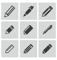 black pencil icons set vector image vector image