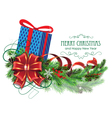 Blue Christmas present with bow and fir branch vector image vector image