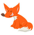 cartoon red fox funny animal character vector image vector image