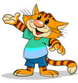 cartoon red stripped cat vector image vector image