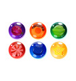 colorful glossy balls set shiny spheres with vector image