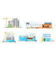 construction buildings store and warehouse icons vector image vector image