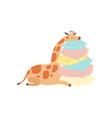 cute baby giraffe animal sleeping on stack of vector image vector image