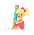 cute blonde little girl sitting on the floor and vector image vector image