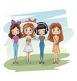 cute girls friends cartoon vector image