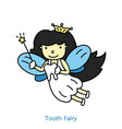 Cute tooth fairy flying with teeth