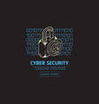 cyber security safety web design with a lock vector image