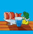 dish with fresh fish and set icons vector image