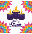 diwali candles lits with mandalas flowers vector image vector image
