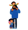father with children on a walk happy family vector image