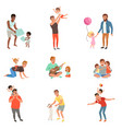 fathers playing having fun together and enjoying vector image vector image