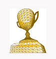 first place golden award cup with polygonal grid vector image vector image