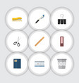 flat icon equipment set of dossier trashcan vector image vector image