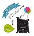 Funny Cute Little Black Monster Party Greeting vector image vector image