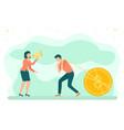 golden dollar coin woman shouting at man business vector image