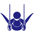 Gymnastics with rings icon in blue vector image vector image