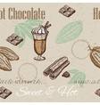 hand drawing seamless pattern cacao beans vector image