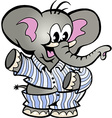 hand-drawn an happy baelephant in pajamas vector image vector image