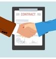 handshake - on background contract sheet vector image