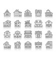 house cottage simple black line icons set vector image vector image