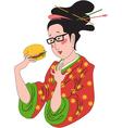 Japanese woman eating hamburger vector image vector image
