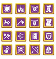 knight medieval icons set purple square vector image vector image