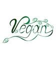lettering word vegan vector image vector image