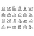 line buildings icons city building hotel vector image vector image