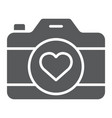 love camera glyph icon photography and valentine vector image vector image