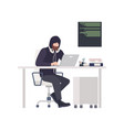male thief or hacker wearing black clothes vector image