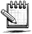 Organizer or planner with pencil vector image