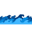 paper sea waves blue water wave paper vector image vector image