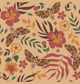 pattern with moths and flowers image vector image