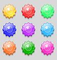 radar icon sign Symbols on nine wavy colourful vector image vector image