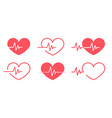 red heartbeat icons different 6 styles vector image