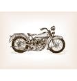 Retro motorcycle hand drawn sketch vector image vector image