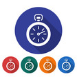 round icon of stopwatch flat style with long vector image