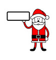 santa claus holding blank sign on the right hand vector image vector image