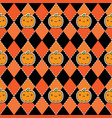 seamless halloween pattern with pumpkins on argyle vector image vector image