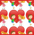 seamless pattern tile cartoon with kids in love vector image