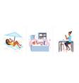 set girl sunbathing on lounger lying in bathtub vector image