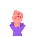 sisters female hand raised up in a fist vector image