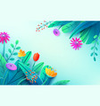 summer background with paper cut fantasy flowers vector image vector image