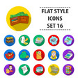 supermarket set icons in flat style big vector image vector image