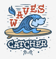 surfing surf themed hand drawn graphics vector image