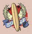 surfing surf themed longboard wings ribbon fo vector image