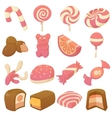 Sweets and candies icons set cartoon style vector image vector image