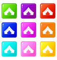 tent with a triangular roof set 9 vector image vector image