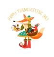 Thanksgiving day Cute fox with turkey in the vector image vector image